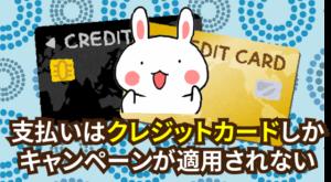 支払いはクレジットカードでなければキャンペーンが適用されない
