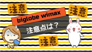 biglobe wimaxの注意点は?