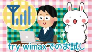 try wimaxでのお試し。2回目以降はレンタルできる?