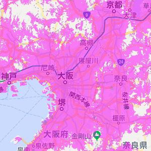 WiMAXの対応エリア(関西)